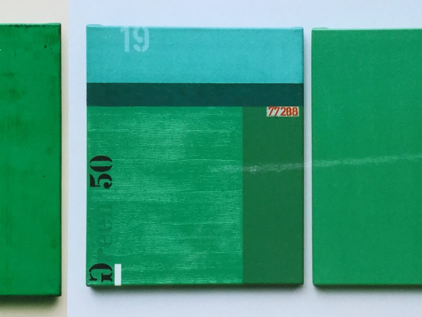 Museum Forum Konkrete Kunst Jena. Thomas P. Kausel.Sammlung: 3teilige Arbeit Öl auf Leinwand in grün. je 60 x 50 cm