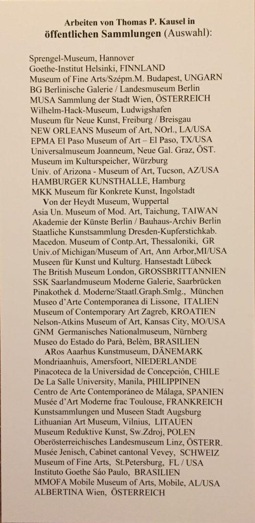 Werke von Thomas Kausel in Museen